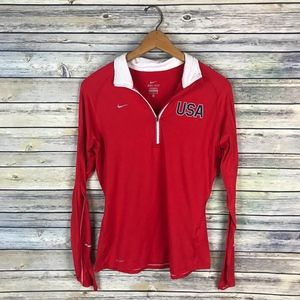 Nike Women's Red USA Olympic 1/4 Zip Pullover